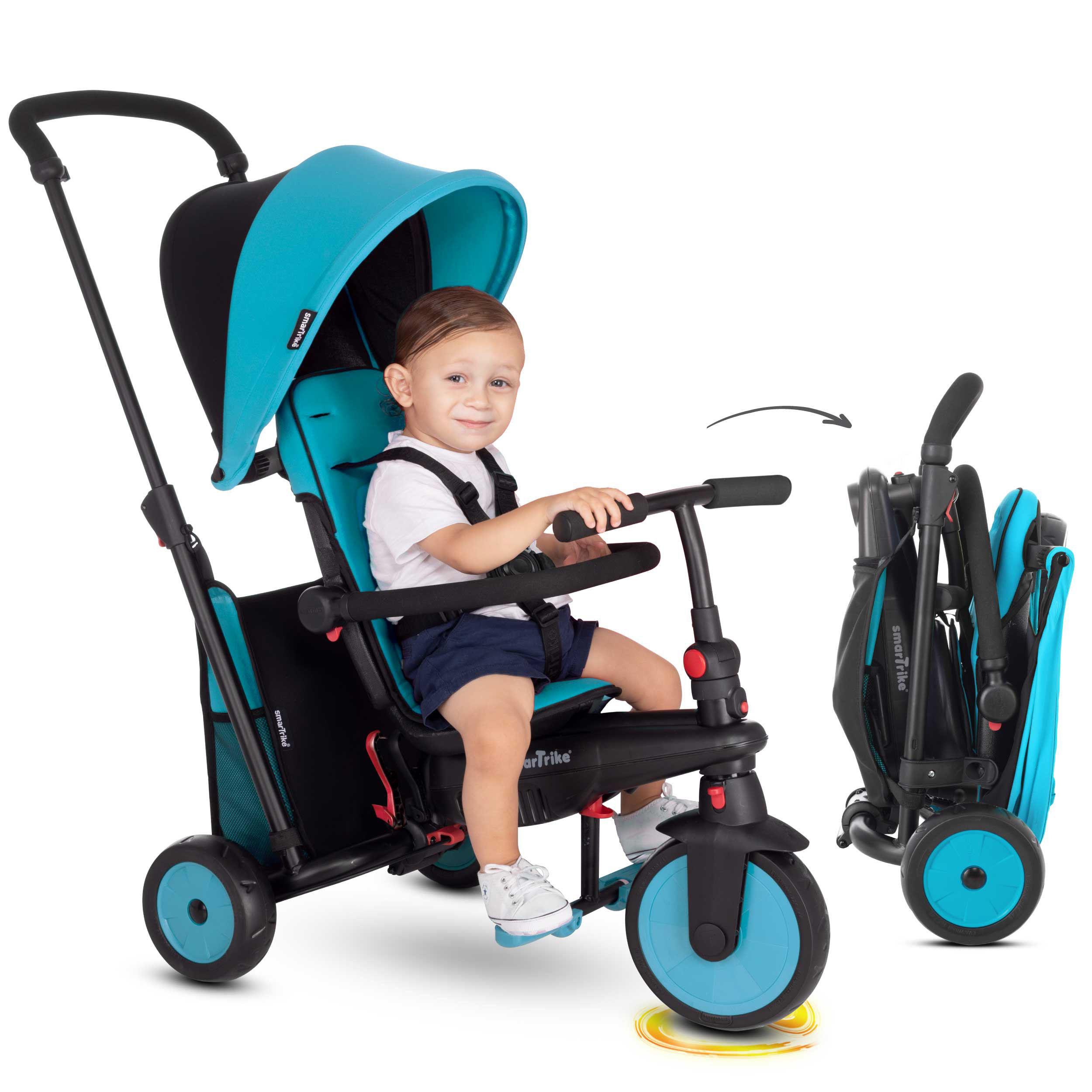 Tricicletă pliabilă smarTrike STR3, 6 in 1 ALBASTRU, dotată cu frână, scaun rabatabil